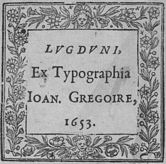 Jean GRÉGOIRE 1653 Ex Typographe